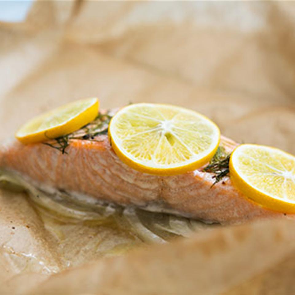 Steamed Salmon Steaks with Lemon Butter and Fennel