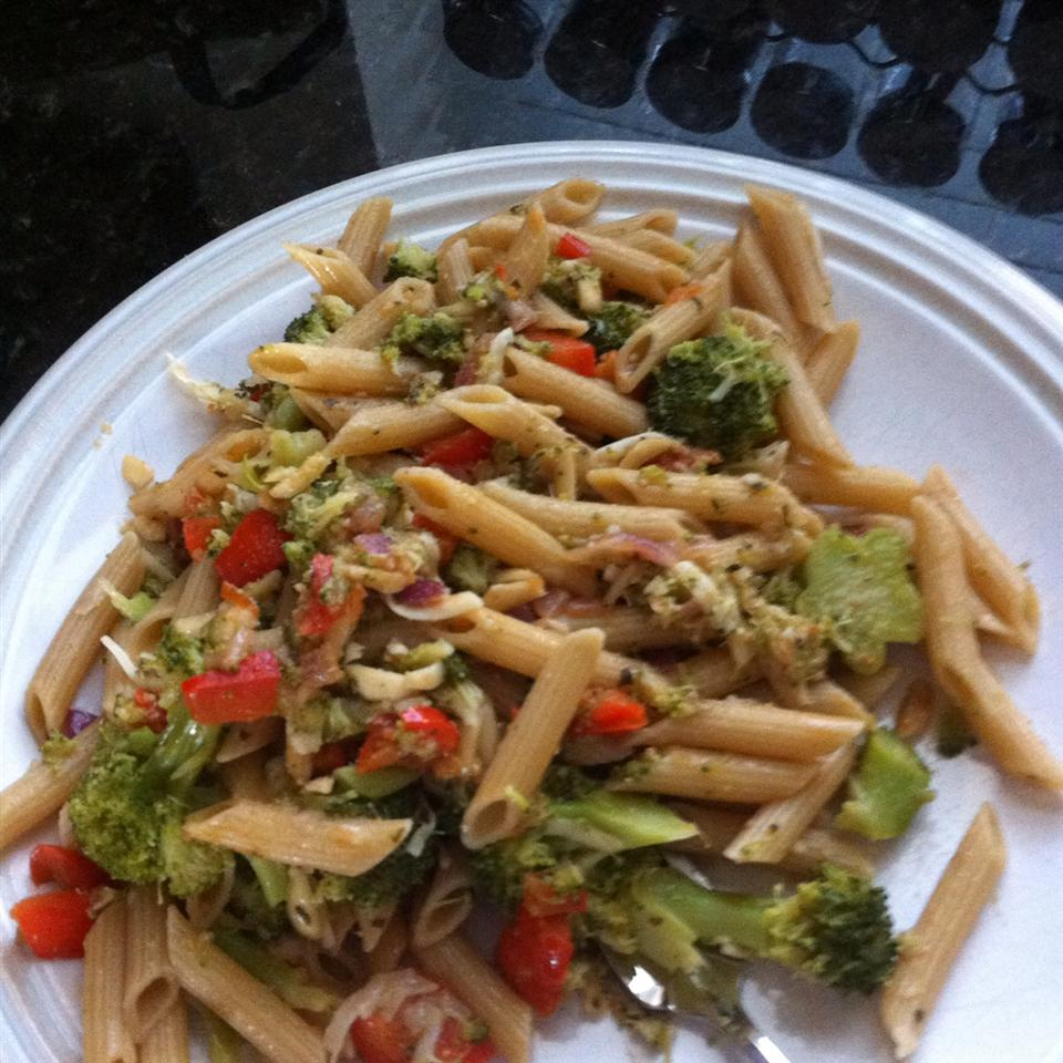 Penne with Red Pepper Sauce and Broccoli jessica