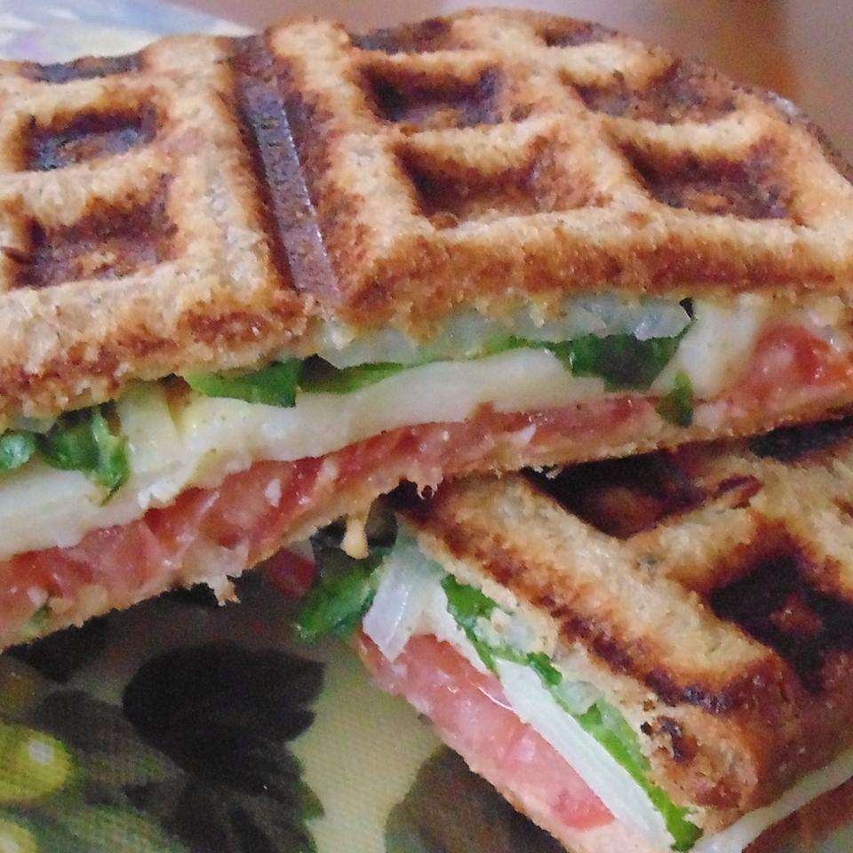 Waffle Sandwich with Cheese, Spinach and Spicy Mustard Christina