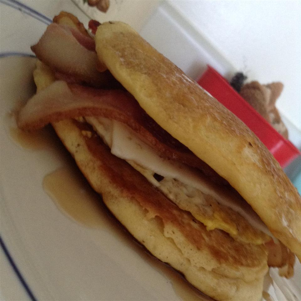 Leftover Pancake Breakfast Sandwich