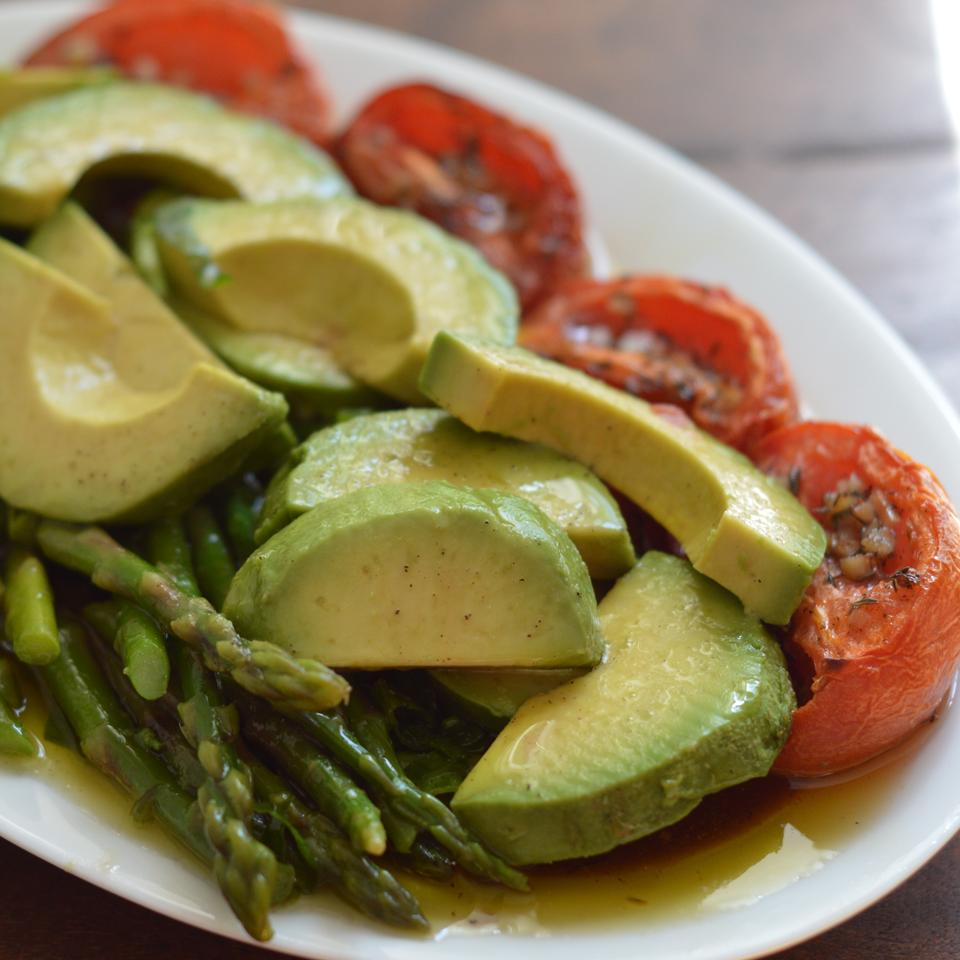 Asparagus, Avocado and Slow-Roasted Tomato Salad Holiday Baker