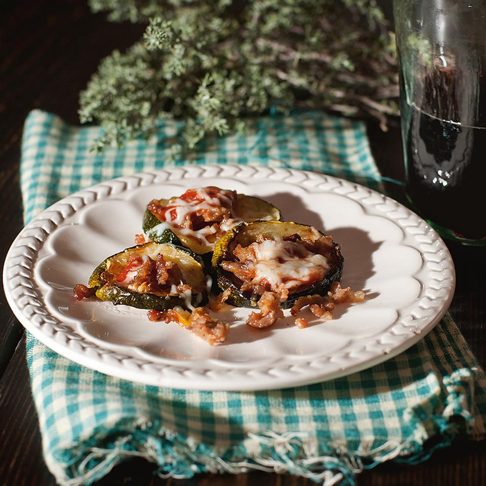 Zucchini-Sausage Mini Pizzas
