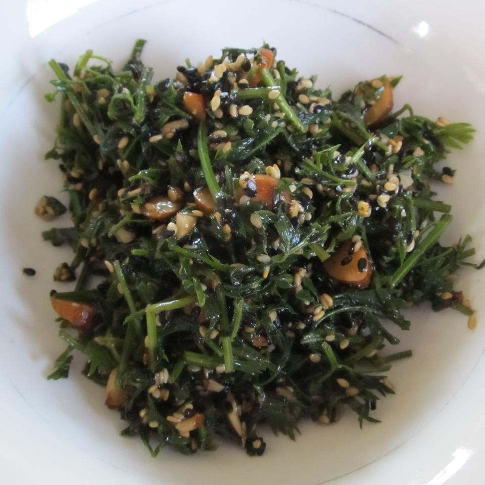 Carrot Greens Salad with Sesame Seeds