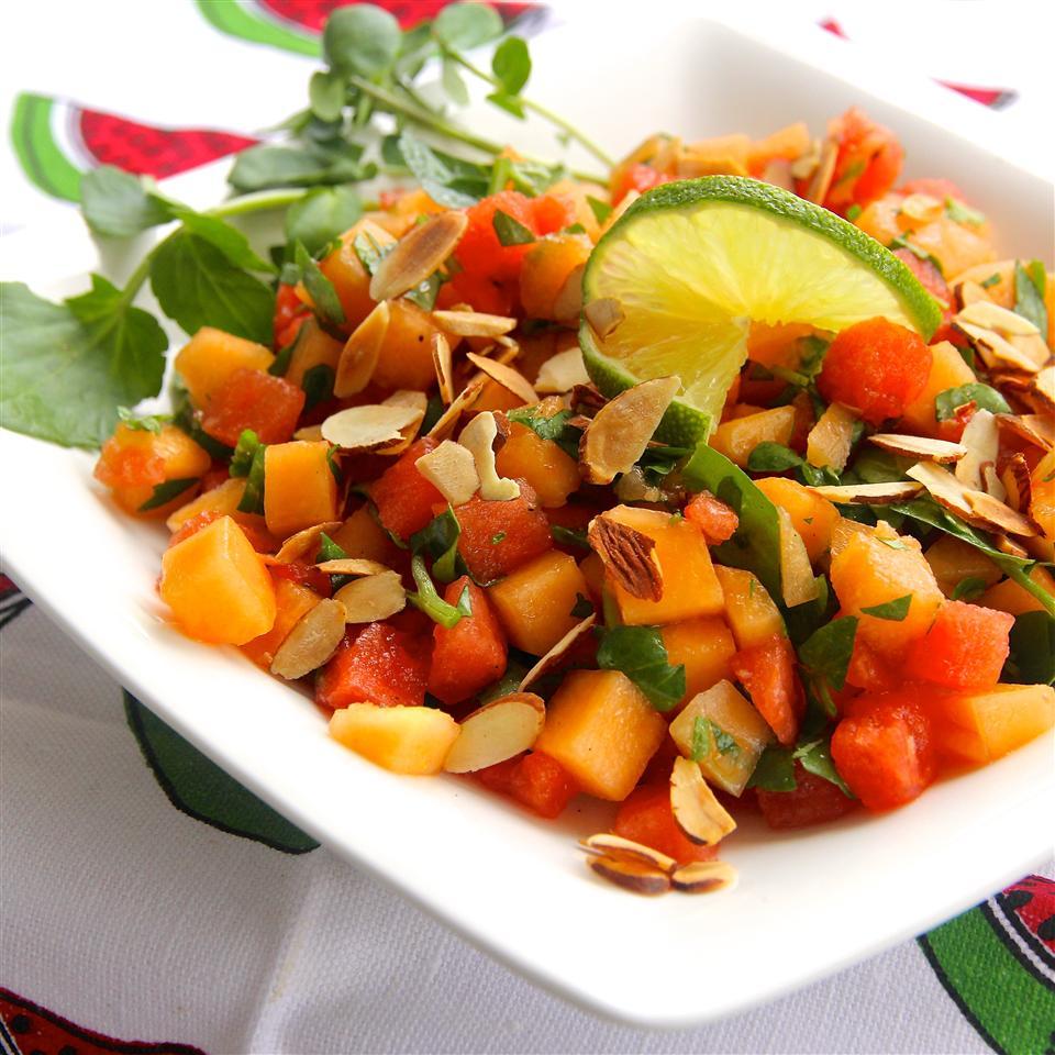 Watercress, Melon and Almond Salad