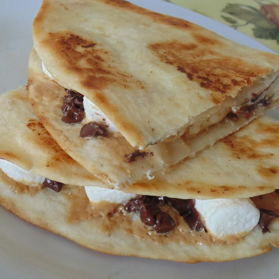 Dessert Quesadillas with Peanut Butter, Chocolate, and Marshmallow Jenni