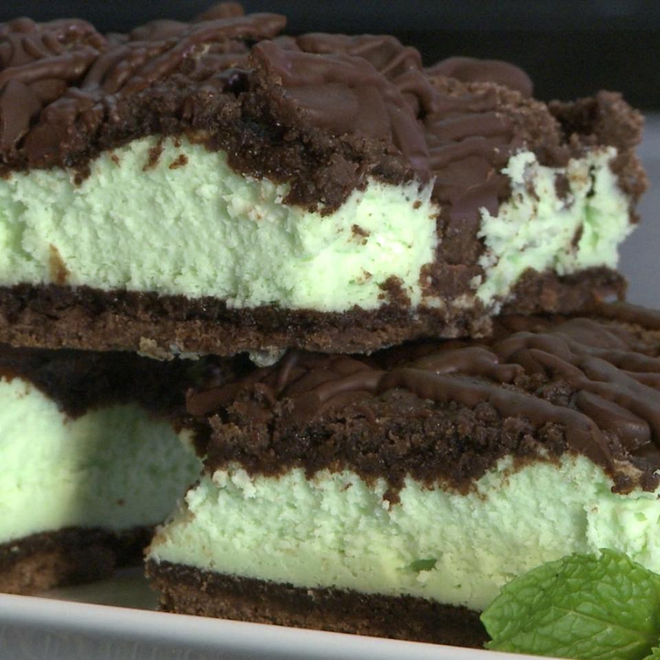 St. Patrick's Chocolate & Mint Cheesecake Bars The Gruntled Gourmand
