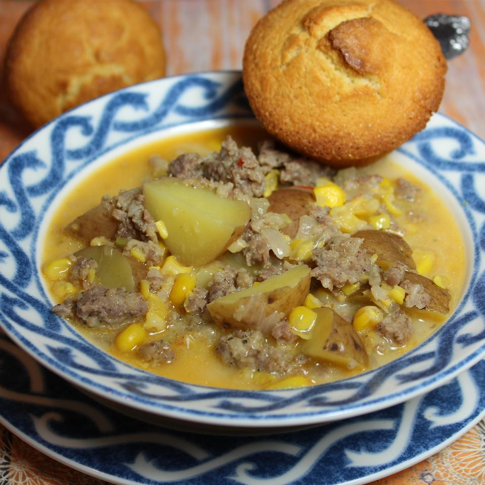 Quick Spicy Sausage Corn Chowder