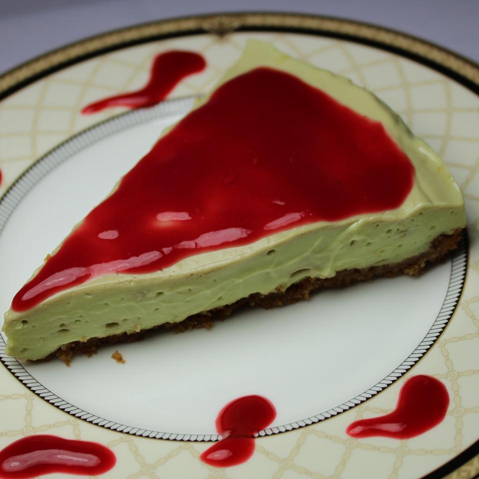 Avocado Cheesecake with Walnut Crust