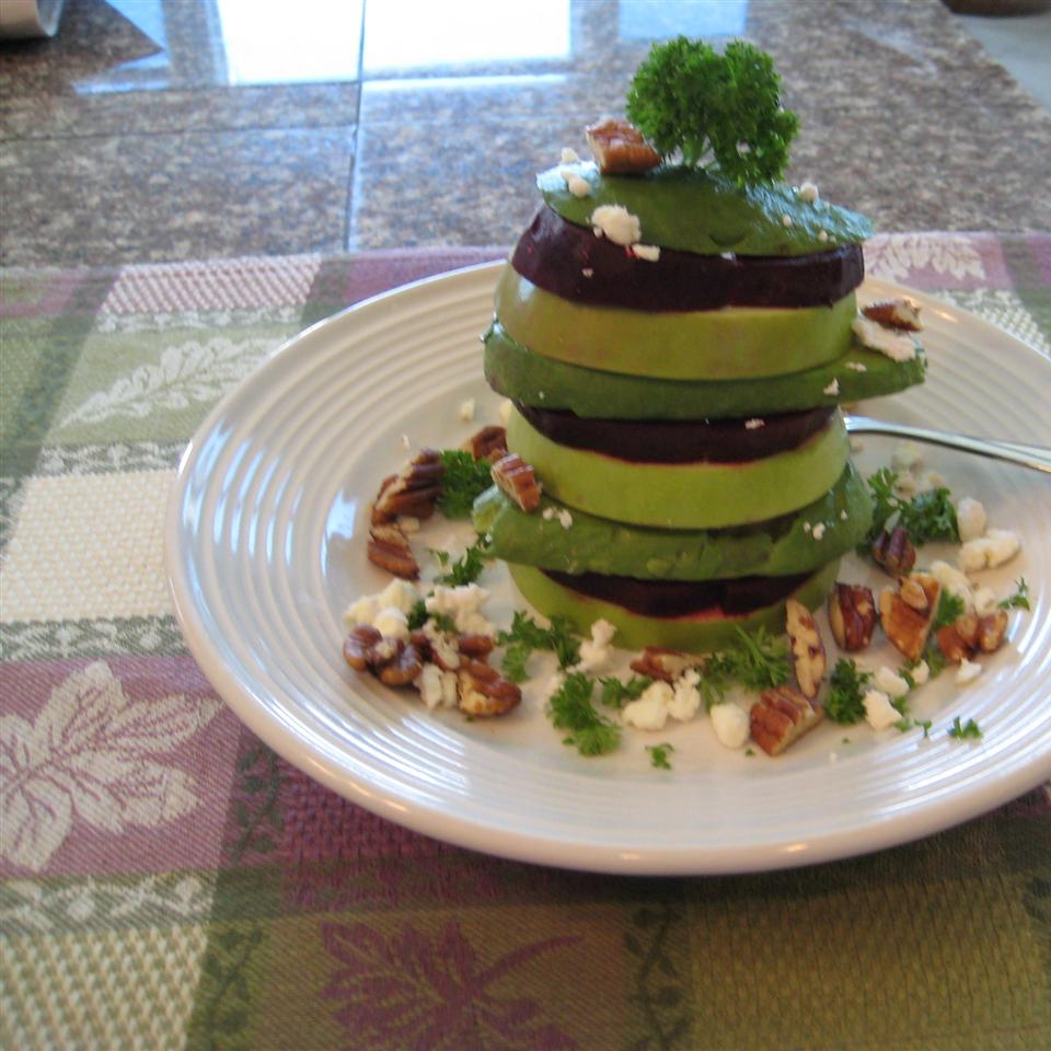 Roasted Beet, Avocado and Granny Smith Apples Tower Beth Baker