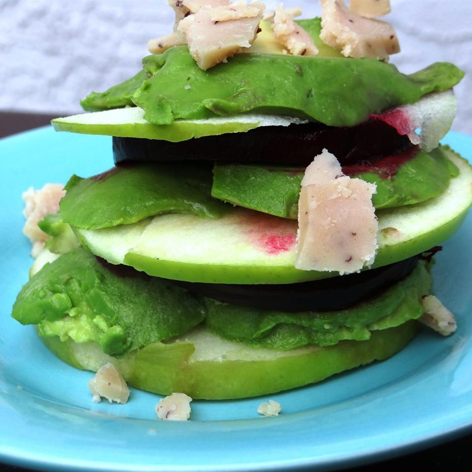 Roasted Beet, Avocado and Granny Smith Apples Tower