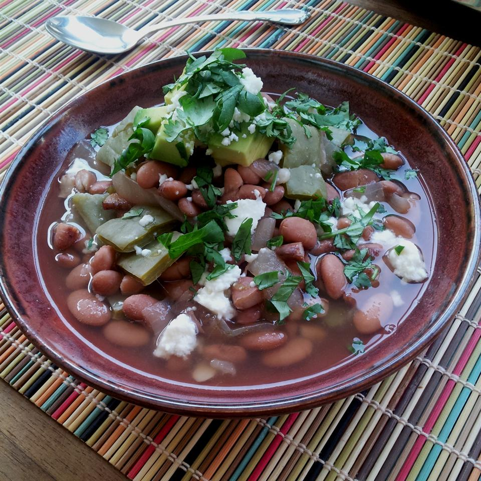 Mexican Pintos with Cactus Snacking in the Kitchen