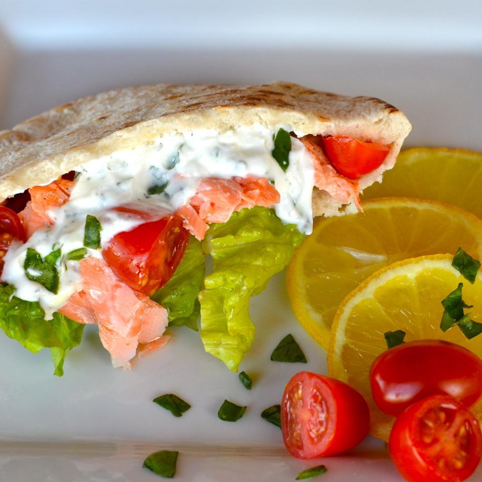 Grilled Salmon Greek Pitas Lela