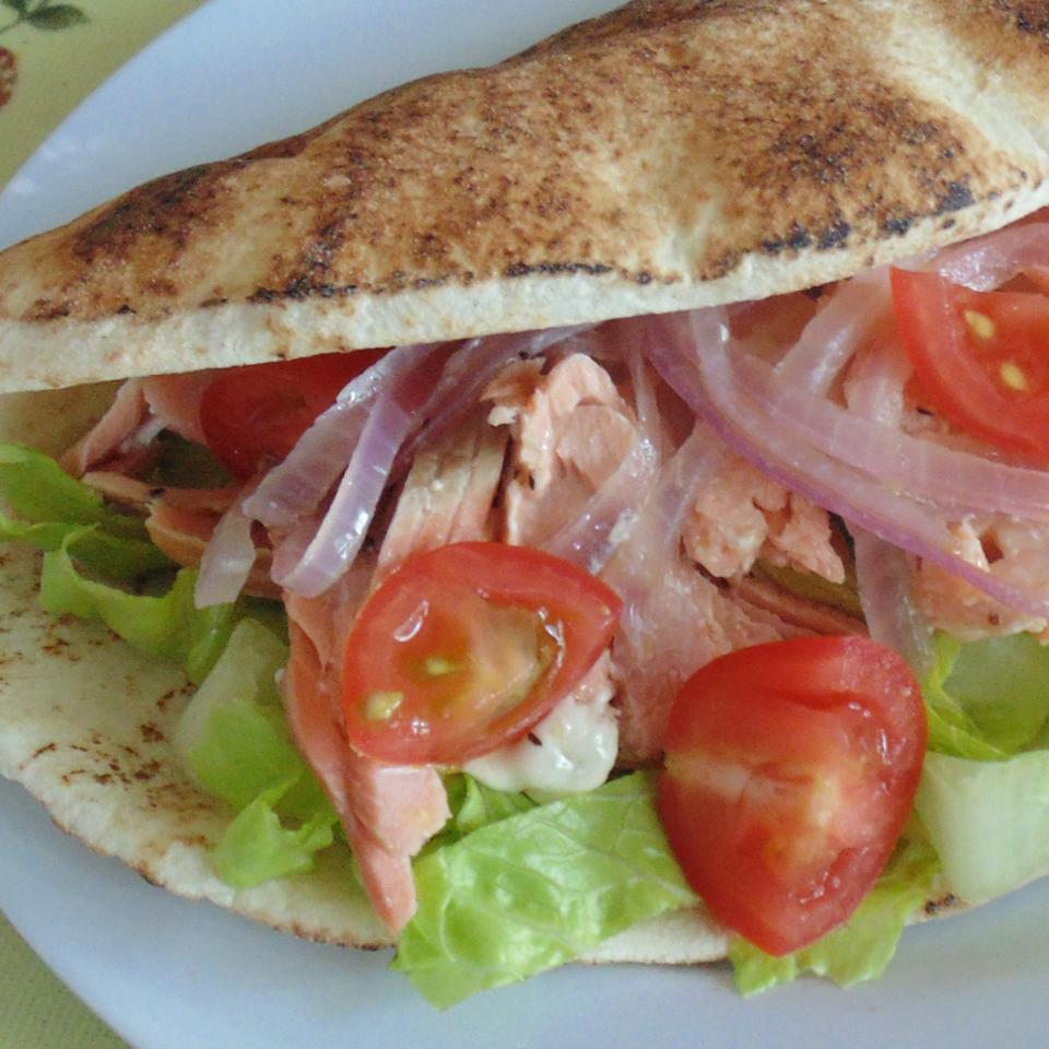 Grilled Salmon Greek Pitas Christina