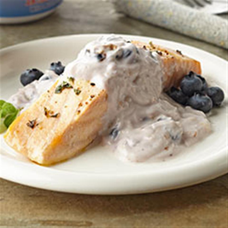 Greek Salmon with Blueberry Tzatziki