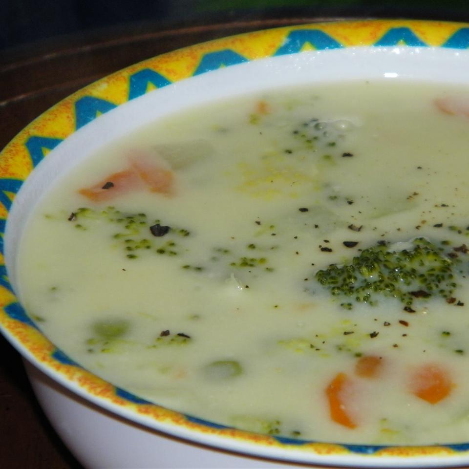 Cheesy Broccoli and Vegetable Soup