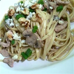 Pork with Linguine and Blue Cheese Mushroom Sauce SunnyByrd