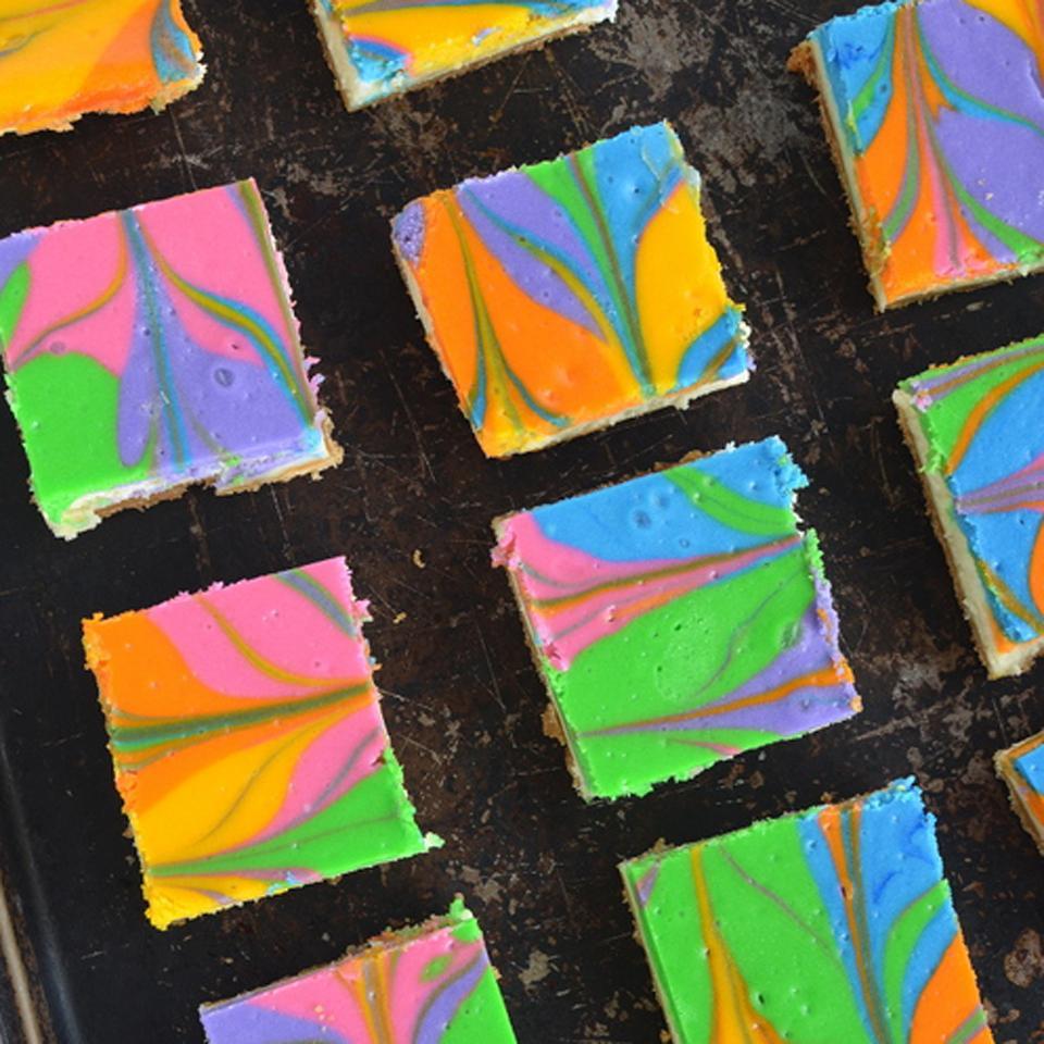 Rainbow Vanilla Cheesecake Cookie Bars