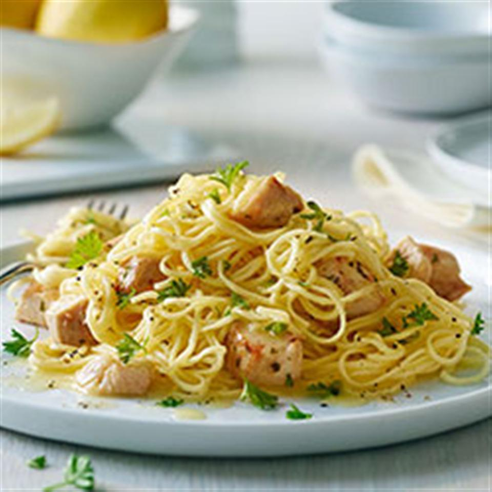 Angel Hair Pasta with Lemon and Chicken (Lighter) Trusted Brands