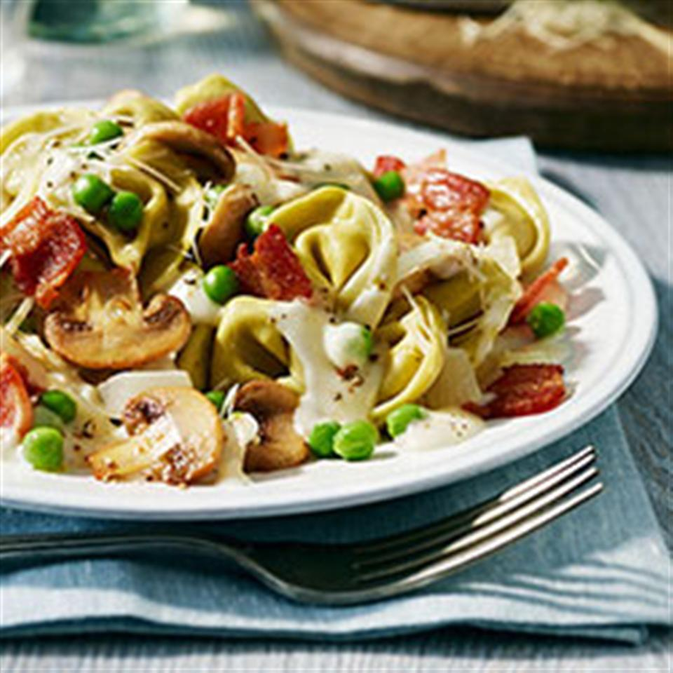 Tortellini Alfredo with Peas and Bacon Trusted Brands
