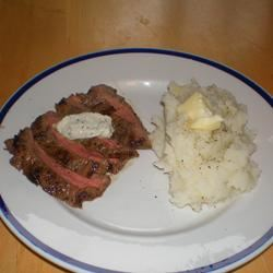Grilled Flat Iron Steak with Blue Cheese-Chive Butter Cody's Mama
