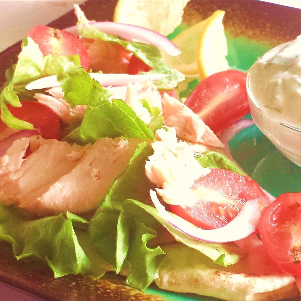 Grilled Salmon Greek Pitas