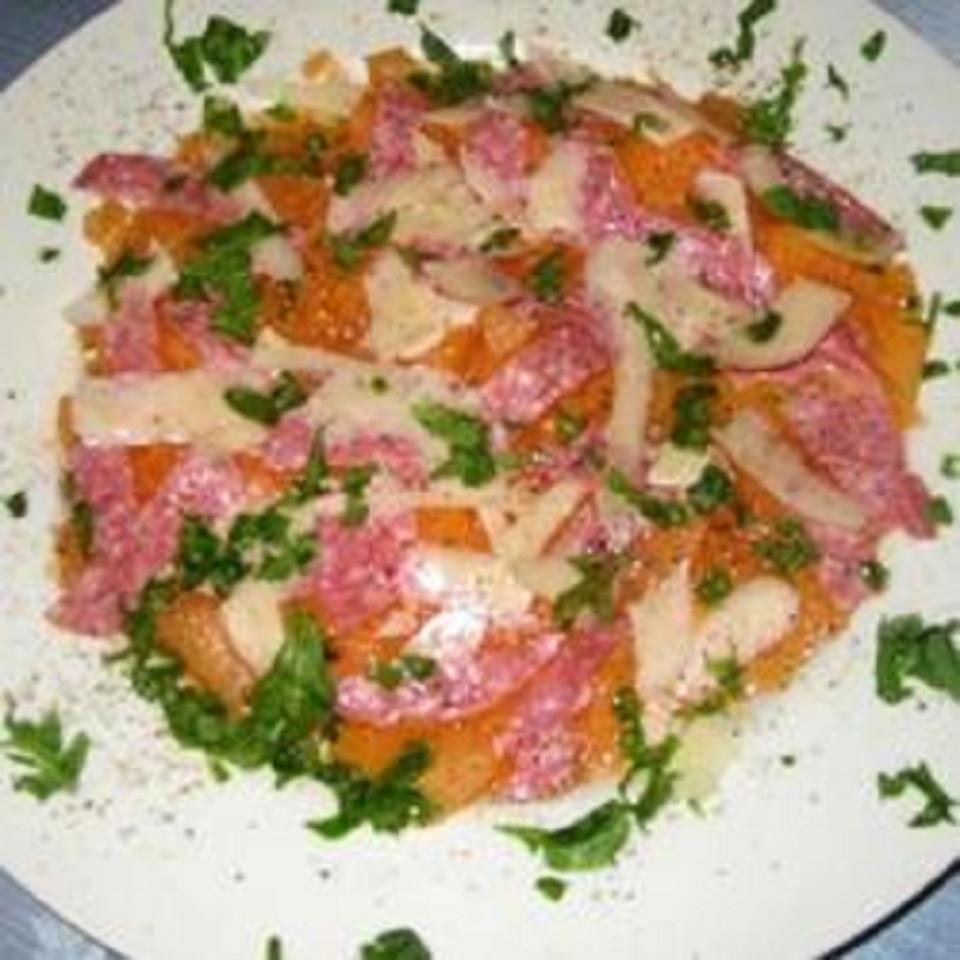 Cantaloupe with Salami Salad