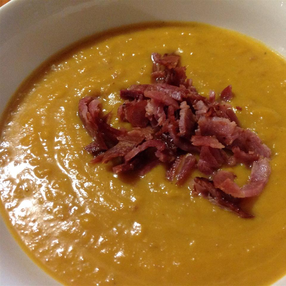 Roasted Butternut Squash and Sweet Potato Bisque with Smoked Applewood Bacon Nat Hare