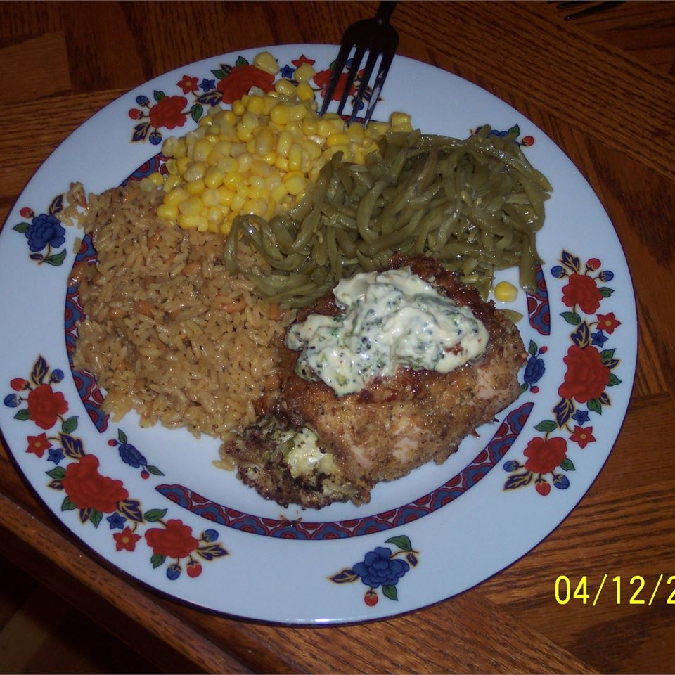 Pecan Chicken Breasts Stuffed with Cream Cheese and Broccoli Jocelyn Kassis