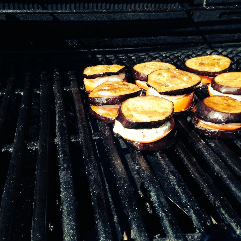 Grilled Eggplant, Tomato and Goat Cheese Jimsans
