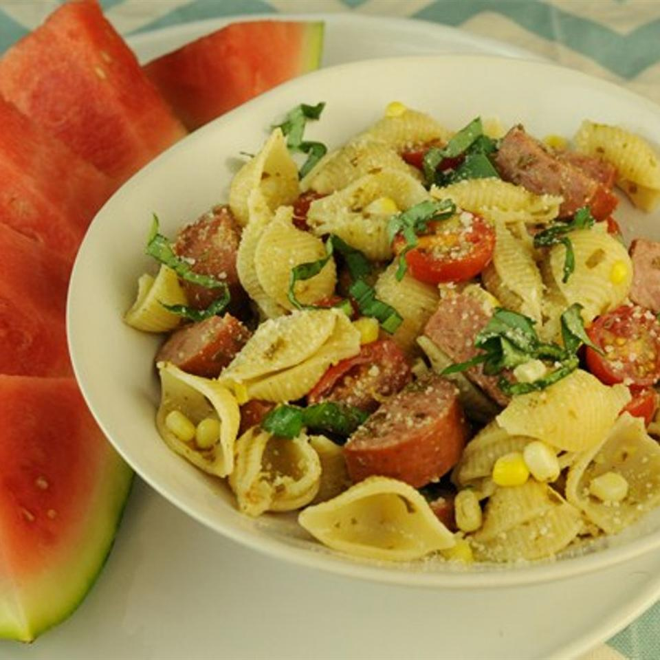Conchiglie Pasta with Sweet Corn and Cherry Tomatoes