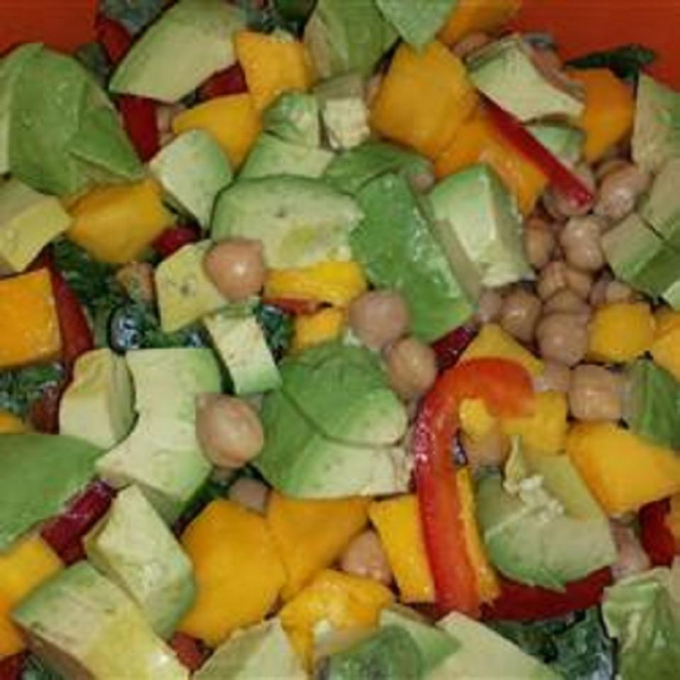 Summer Kale, Avocado, Mango, and Chickpea Salad with Citrus Poppy Seed Vinaigrette debbie eckstein