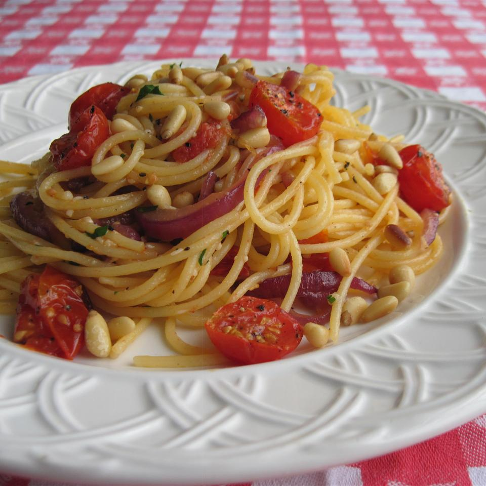 Gluten Free Spaghetti with Caramelized Red Onions, Cherry Tomatoes, Pine Nuts, and Pecorino Cheese Cynthia Ross