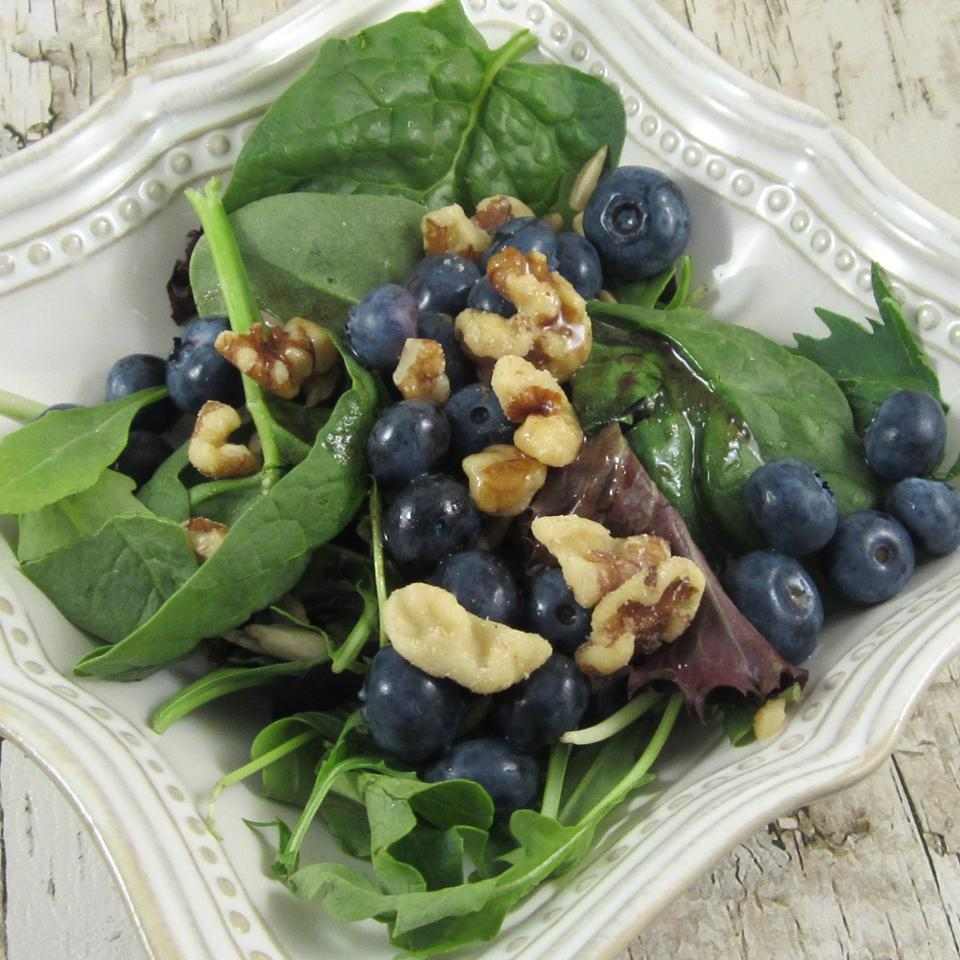 Deliciously Sweet Salad with Maple, Nuts, Seeds, Blueberries, and Goat Cheese Deb C