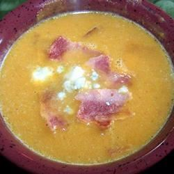 Velvety Pumpkin Soup With Blue Cheese and Bacon LukesMommy