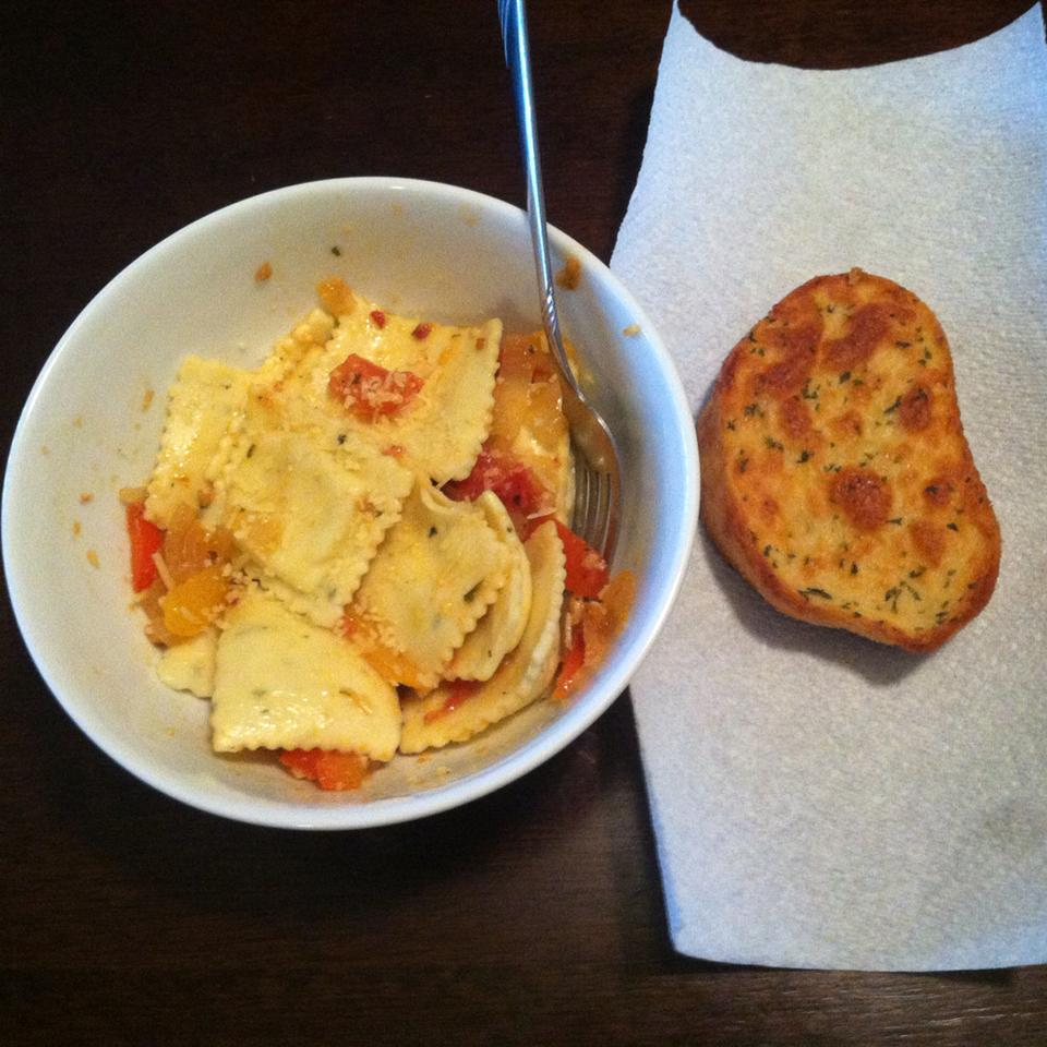 Cheese Ravioli with Three Pepper Topping Kayla Rose