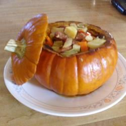 Cinderella Pumpkin Bowl with Vegetables and Sausage gptraveler