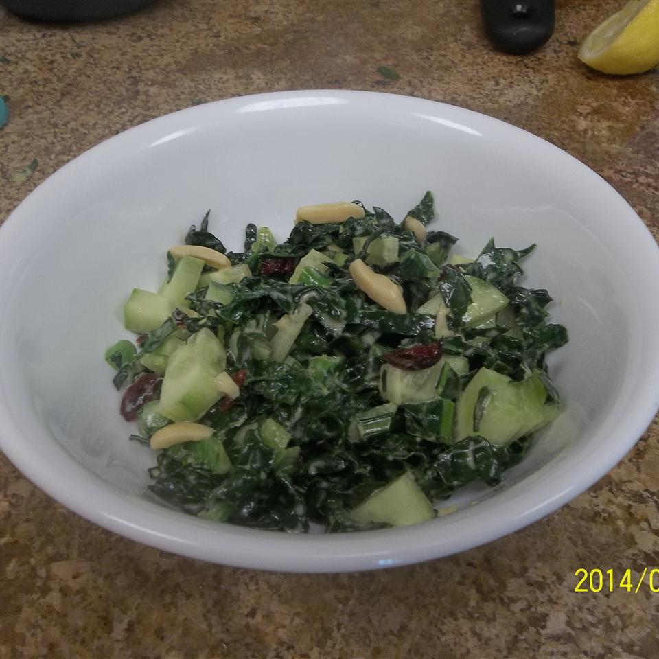 Kale and Cucumber Salad with Lemon Tahini Dressing BevKat