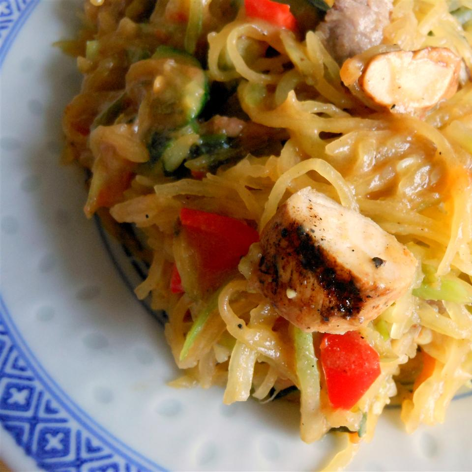 "Shredded spaghetti squash stands in for rice noodles here. To make this even healthier, you'll quickly saute shredded spaghetti squash and broccoli slaw with zucchini, red bell pepper, green onion, cilantro. To finish, you'll stir in cubed cooked chicken and a flavorful Thai-inspired sauce. ""This low-carb dish is tasty and filling, even if you're not watching your waistline,"" says SunnyDaysNora. ""Spicy and flavorful, this dish is sure to please!"""