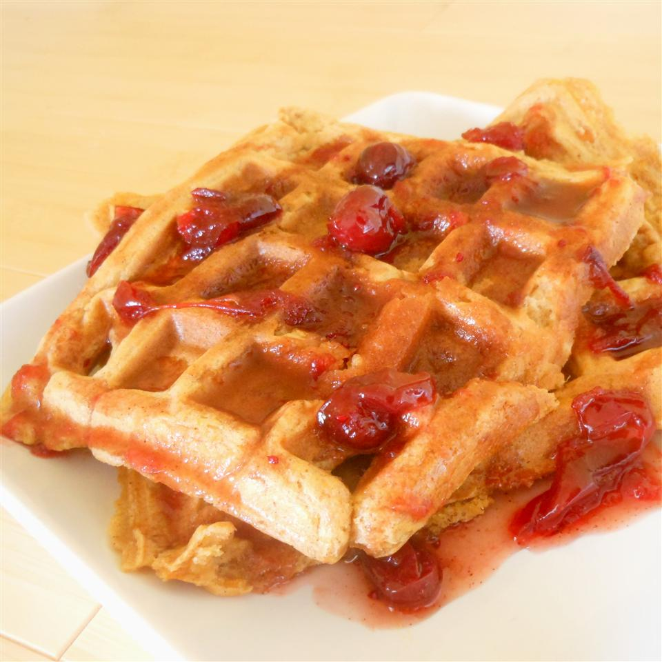 "Start the morning with a celebration of fall flavors. ""Followed the recipe exactly using canned sweet potatoes (in syrup),"" says reviewer Leona. ""The texture was perfect and the family loved both the waffles and the cranberry maple syrup. It was a great way to begin the day and welcome autumn."""