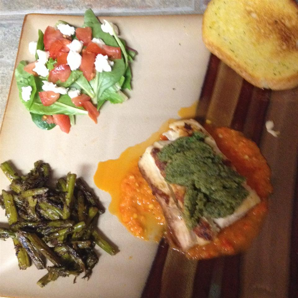 Grilled Mahi Mahi with Roasted Pepper Sauce and Cilantro Pesto coletteellender