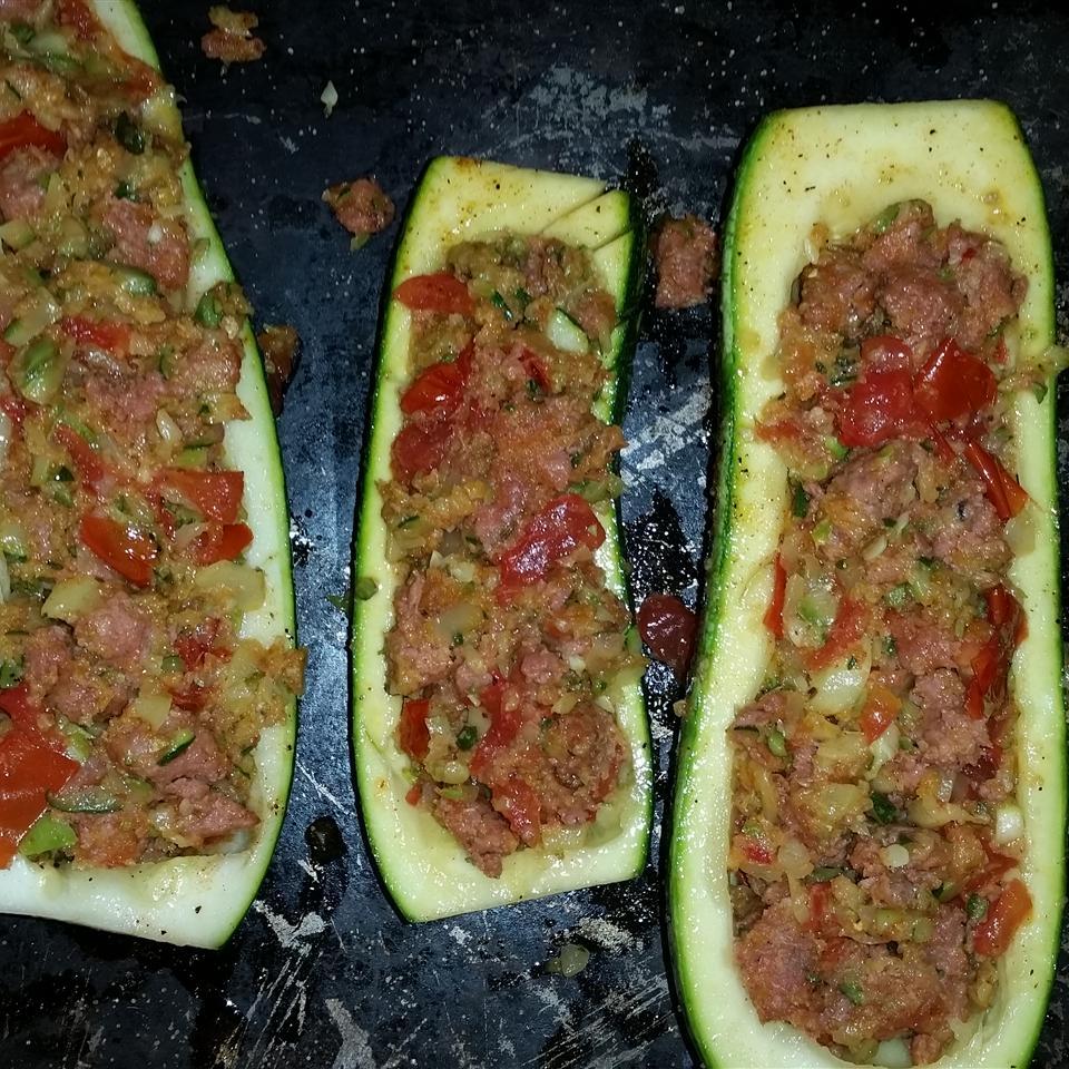 Stuffed Zucchini with Chicken Sausage