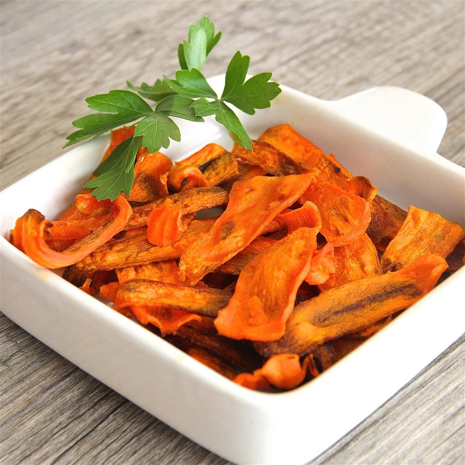 Cut carrots into thin slices for crunchy, salty-sweet chips.
