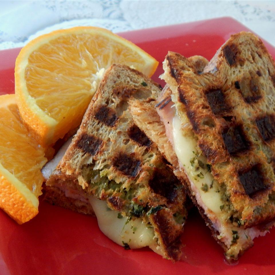 Pesto and Balsamic Waffle Sandwiches