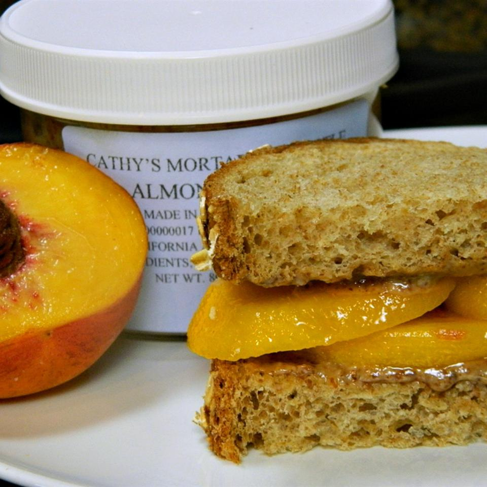 Summertime Almond Butter and Peach Sandwich
