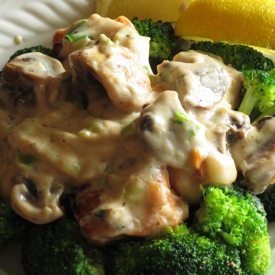 Pan-Seared Cod, Broccoli, and Mushrooms with Creamy Alfredo Sauce
