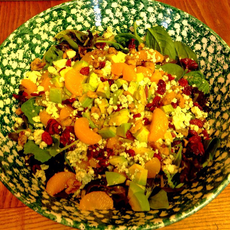 Cranberry, Glazed Walnut, Orange, Avocado, and Blue Cheese Salad TerriW
