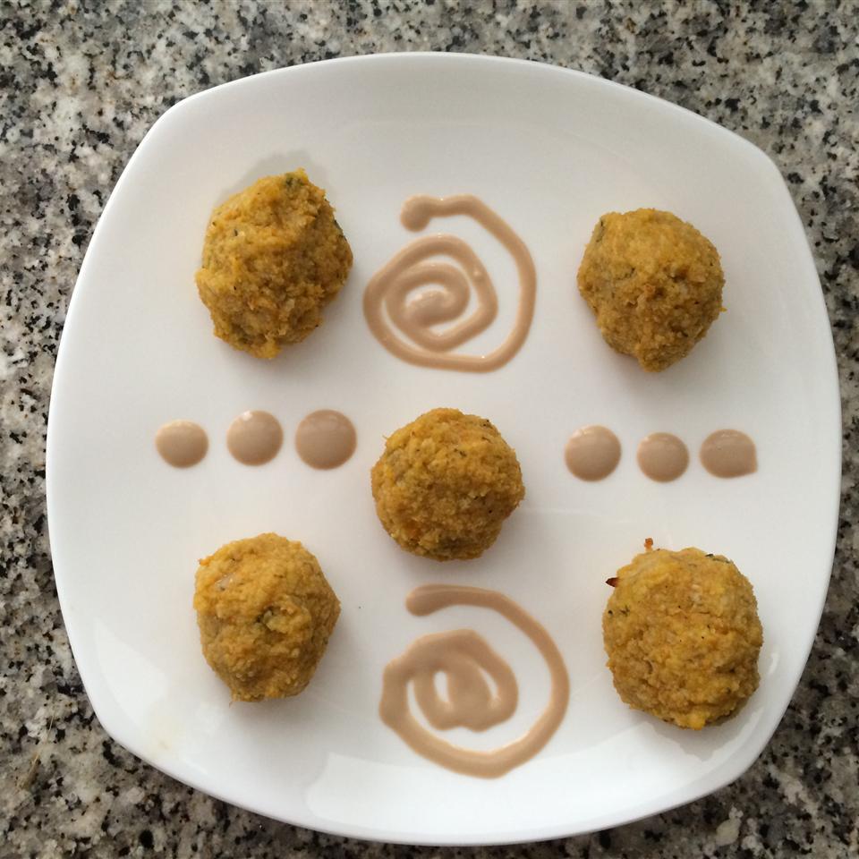 Mini Pumpkin Sage Balls with Balsamic Creme Fraiche DetroitTigress