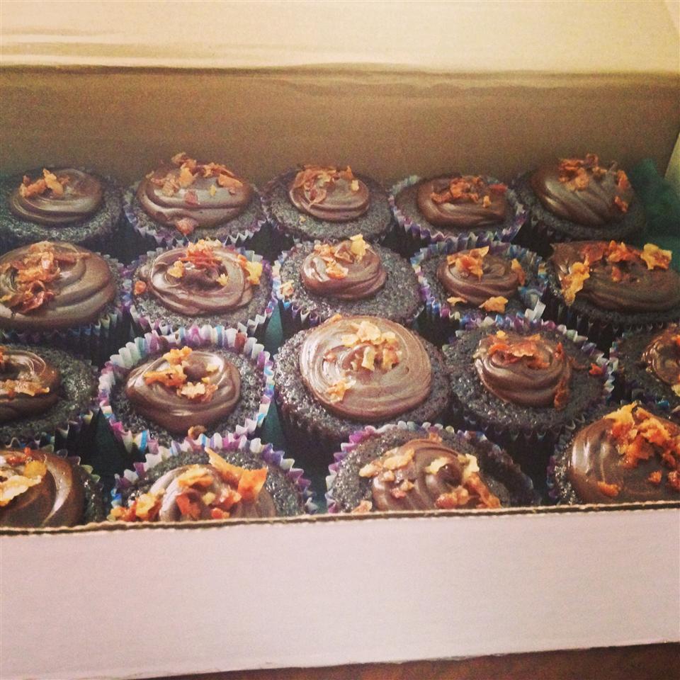 Dark Chocolate Bacon Cupcakes