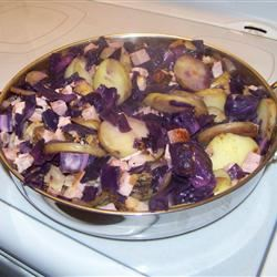 Skillet Ham, Cabbage and Potatoes