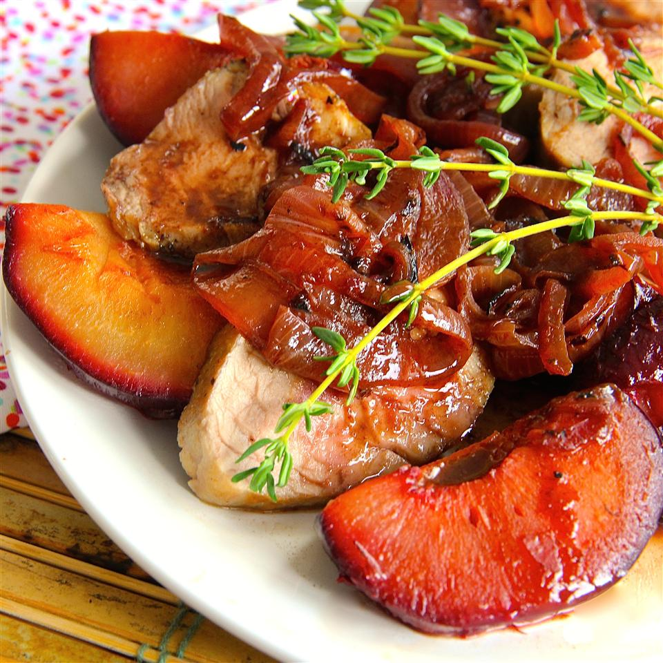 Roasted Pork Tenderloin with Fresh Plum Sauce